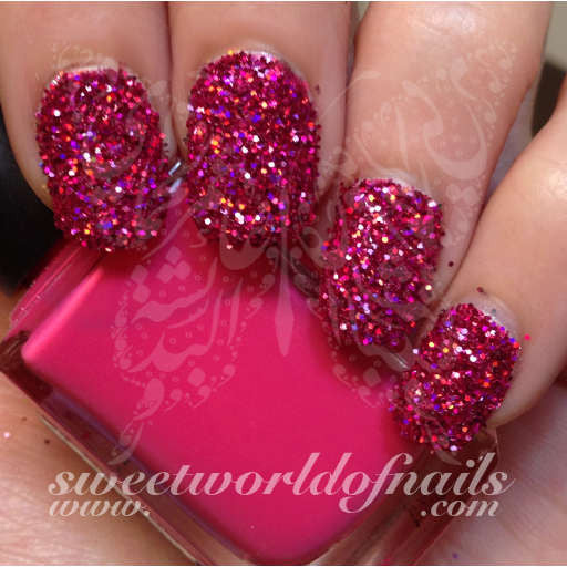 Nail Glitter Hot Pink Sparkle Glitter Dust Powder Nail Art 2