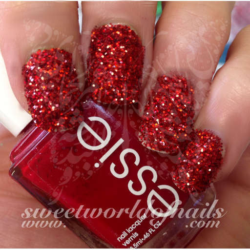 Nail Glitter Red Sparkle Glitter Dust Powder Nail Art