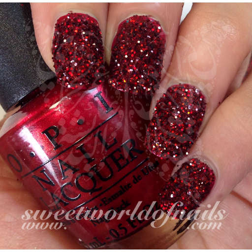 Nail Glitter Ruby Red Sparkle Glitter Dust Powder Nail Art