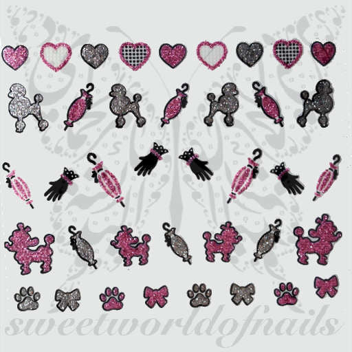glittery sparkly 3D nail Stickers Pink Hearts Poodle Umbrella Gloves