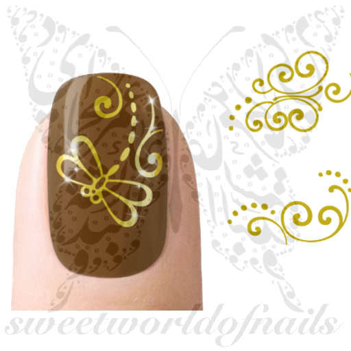 Gold Dragonfly Nail Art Nail Water Decals Transfers Wraps