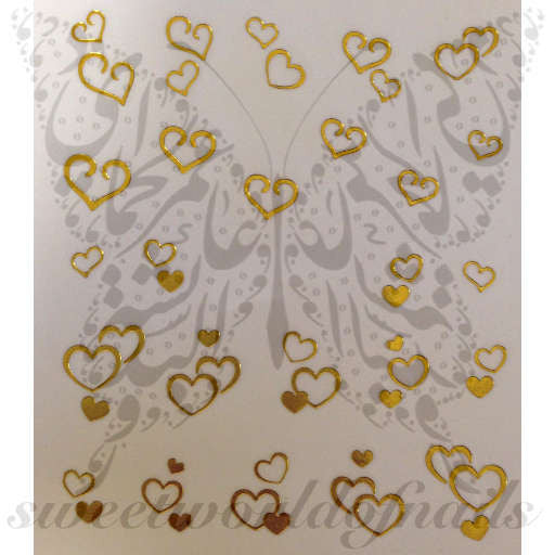 Valentine's Day Nail Art Gold Hearts Nail Water Decals Wraps