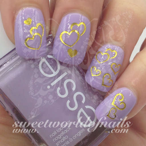 Valentine S Day Nail Art Gold Hearts Nail Water Decals Wraps