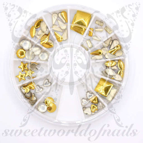 3D Gold Metallic Nail Studs Nail Decoration -7 shapes