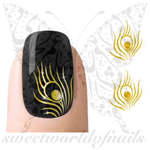 Gold Peacock Feathers Nail Art Nail Water Decals Transfers Wraps