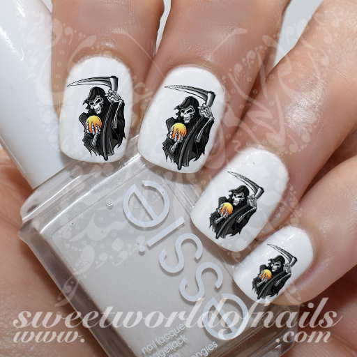 Halloween Nails Grim Reaper Nail Water Decals