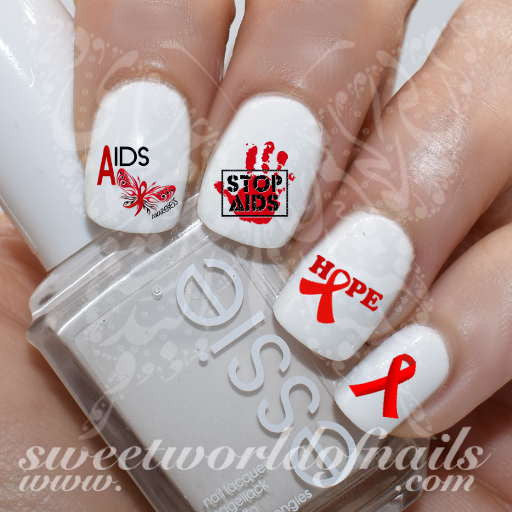 HIV Awareness Nail Art Aids Nail Water Decals