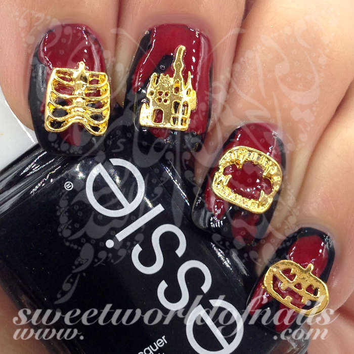 Halloween 3D Gold Nail Charms