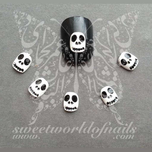 Halloween Nail Art 3D White Scary Face Nail Charm Nail Decoration