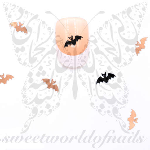 Halloween Nail Art Bats Thin Metallic Nail Charms
