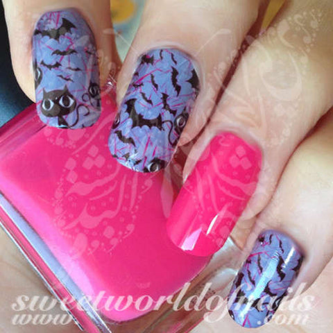Halloween Nail Art Cats and Bats Nail Art Water Full Wraps Transfers