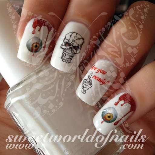 Halloween Nail Art Scary Skulls Eyeball Blood Water Decals Wraps