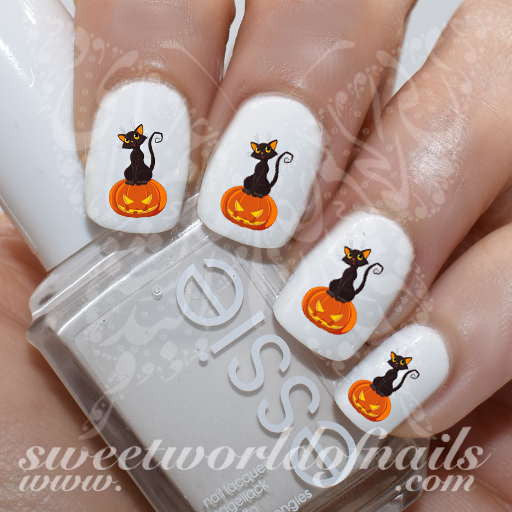 Halloween Nail Art Black cat sitting on Halloween pumpkin Decals
