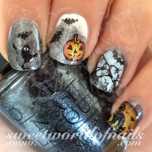 Halloween Nail Art Scary cat bats tree ghost Nail Water Decals Transfers  Wraps ... - Halloween Nail Art Scary Cat Bats Tree Ghost Nail Water Decals