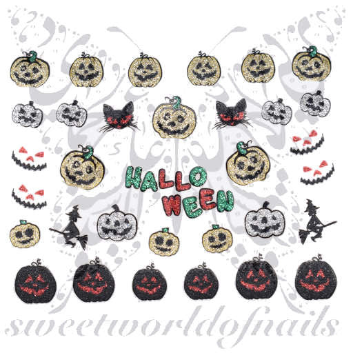Halloween Nail Art Glittery Stickers Pumpkin Witch Scary Face Cat Nail  Stickers