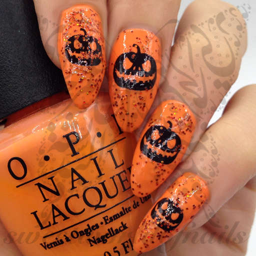 Halloween Nails Black Pumpkin Nail Water Decals
