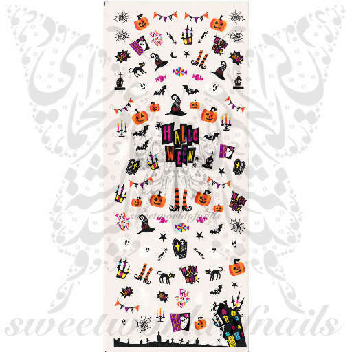 Halloween Nail Art Pumpkin Black Cat Spiderweb Scary Water Decals Transfers Wraps