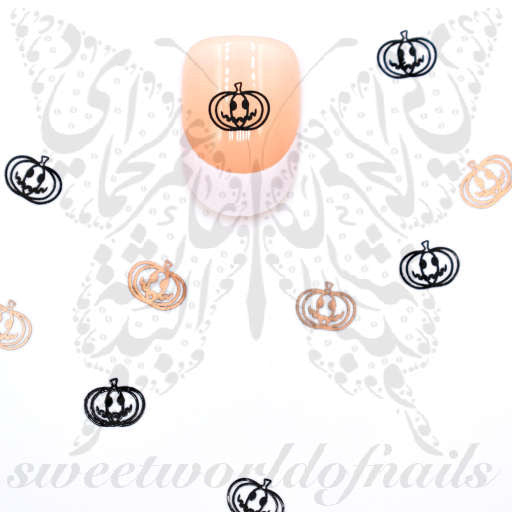 Halloween Nail Art Pumpkins Thin Metallic Nail Charms