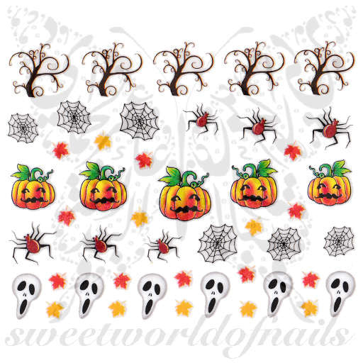Halloween Nail Art Pumpkins Spider Web Autumn Leaves Nail Stickers