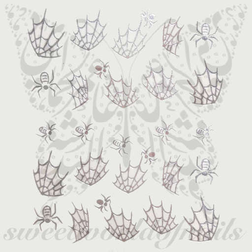 Halloween Nail Art Silver Spider Nail Water Decals Water Slides
