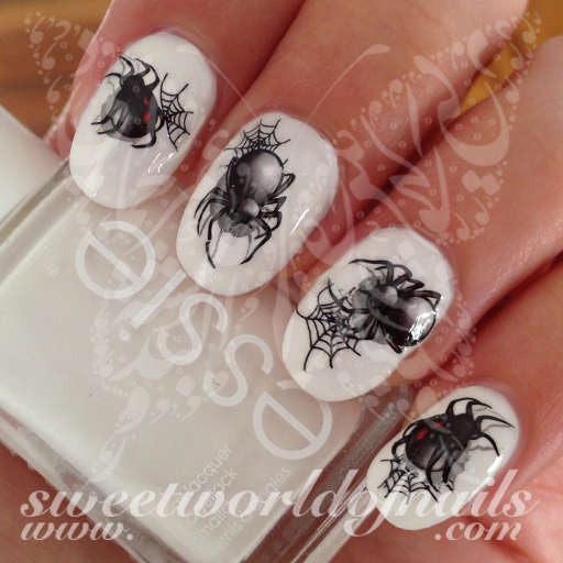Halloween Nail Art Spider Web Black Spider Nail Water Decals Water Slides  ... - Halloween Nail Art Spider Web Black Spider Nail Water Decals