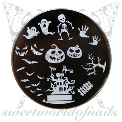 Halloween Nail Art Stamping Plate Ghost Bats and Pumpkins