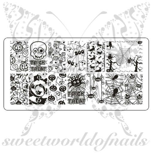 Halloween Nail Art Stamping Plate Template Spiders and Pumpkins