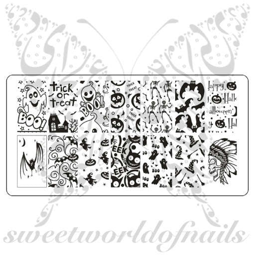 Halloween Nail Art Stamping Plate Template Trick or Treat