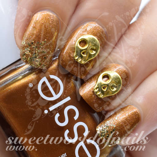Halloween Nails 3D Gold Metal Skulls Nail Charms /5 pcs