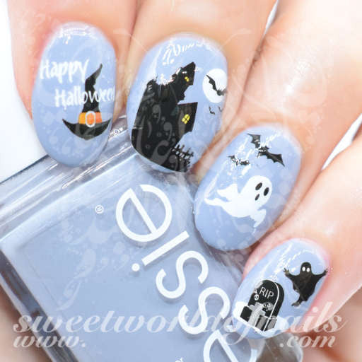 Halloween Nail Art Haunted House Bats and Ghosts Nail Decals