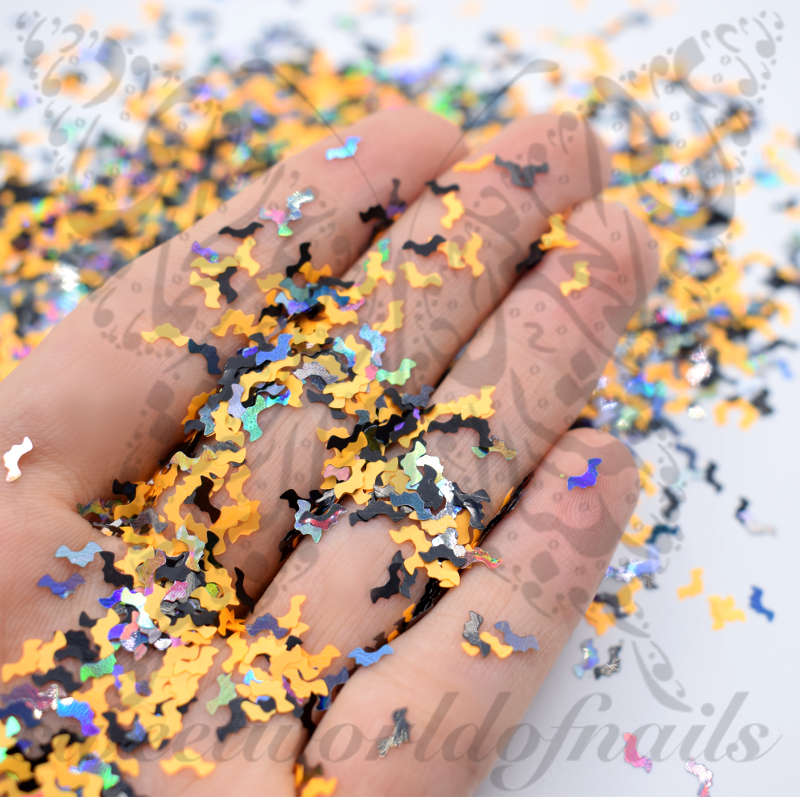 Halloween Nails Mix Color Bat Confetti