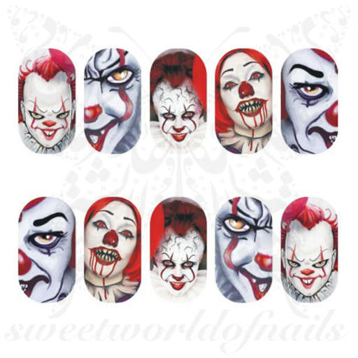 Halloween Nails Scary Clown water decals