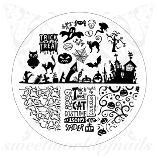 Halloween Nail Art Acrylic Stamping Plate Ghost Bats and Pumpkins