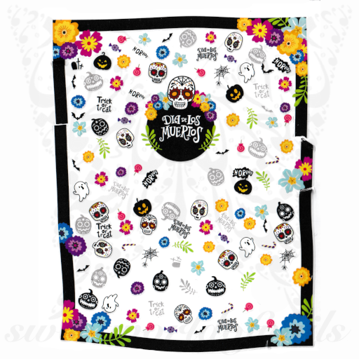 Halloween Nails Sugar Skull Nail Stickers
