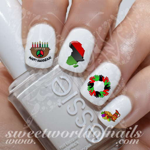 Happy Kwanzaa Nail Art Nail Water decals wraps