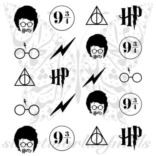 Harry Potter Nail Art Glasses bolt lightning Platform Number Nail water decals transfers