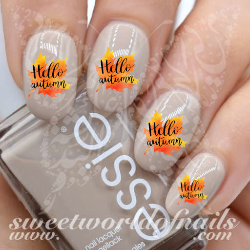 Hello Autumn Nails Leaf Water Decals