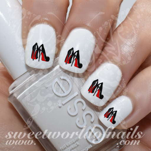 Celebrity Nail Art Red Sole High Heels Luxury Water Decals Transfers Wraps