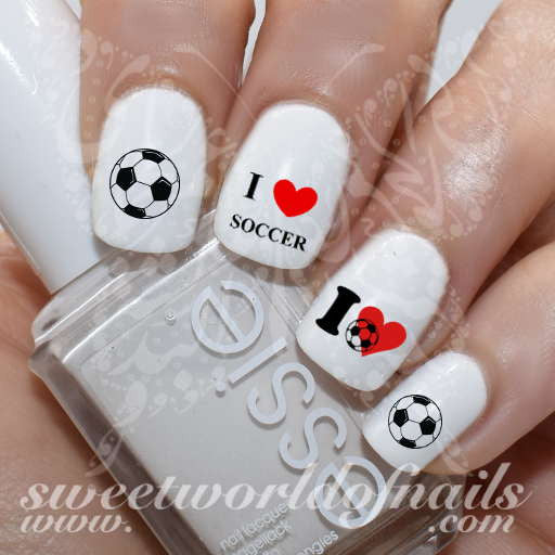 I love Soccer/Football Nail Art Water Decals Nail Transfers Wraps