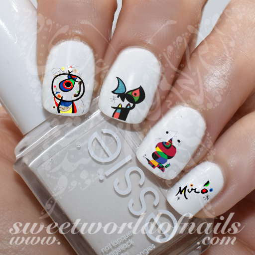 Nail Art Inspired by Joan Miro Surrealism Nail Water Decals Transfers Wraps