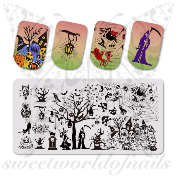 Halloween Nails Stamping Plate Grim Ghosts