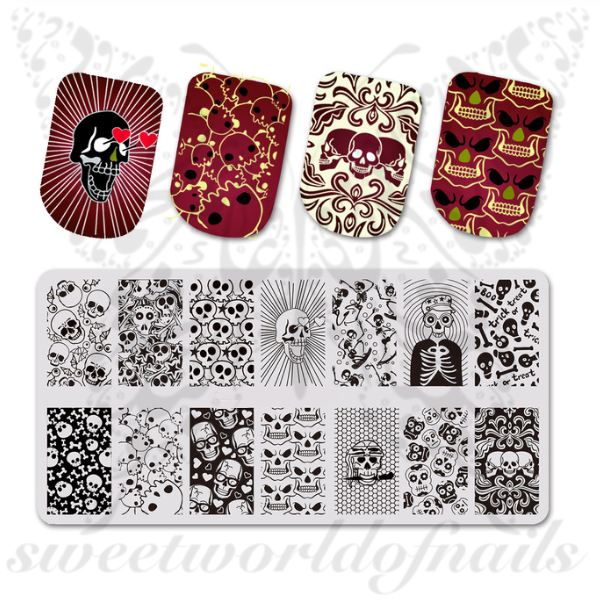 Halloween Nails Stamping Plate Skulls Skeleton