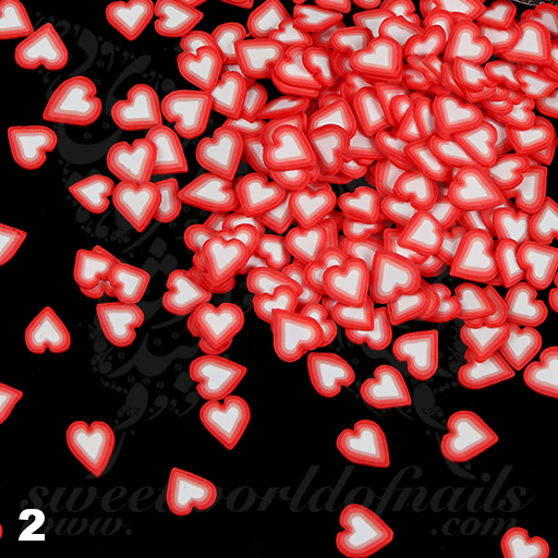 Valentine Heart Slices polymer clay cane Fimo slices Nail Art