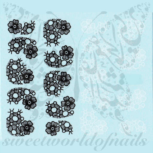 Lace Nail Art Black and White Lace Nail Water Decals Water Slides