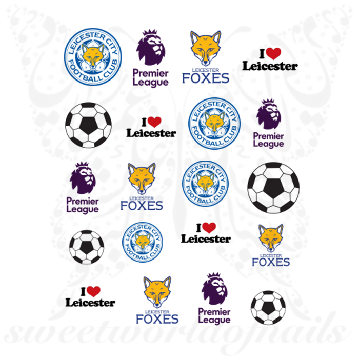 Leicester City F.C. Nail Art Premier League Nail Water Decals