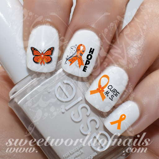 MS Awareness Nail Art Hope Orange Ribbon Nail Water Decals Slides