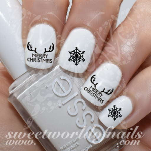 Merry Christmas Nails Antlers Nail Water Decals