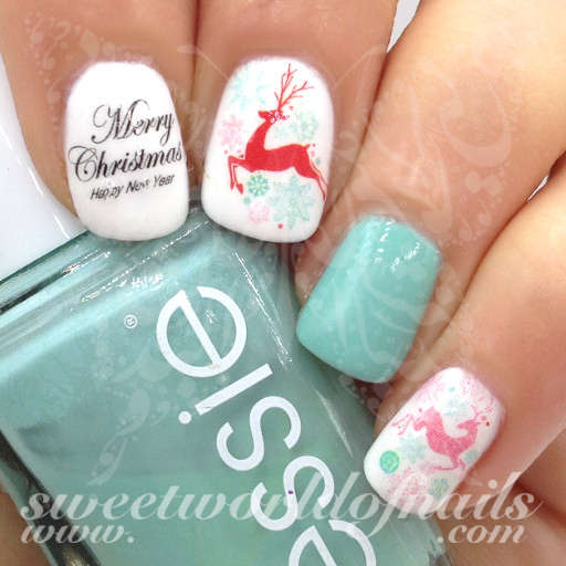 Christmas Nail Art Reindeer Nail Water Decals