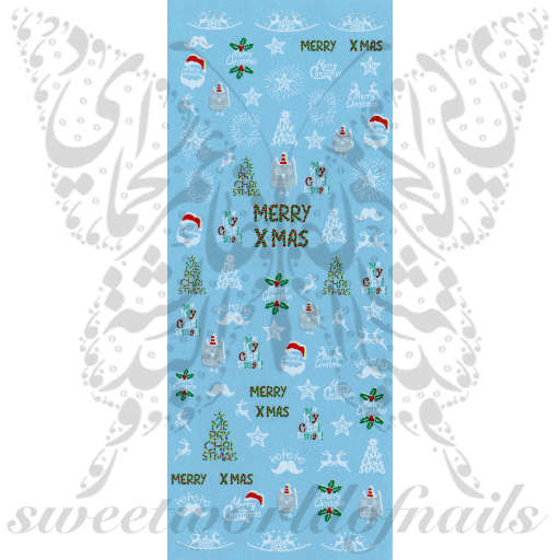 Merry Christmas Nail Art Water Decals
