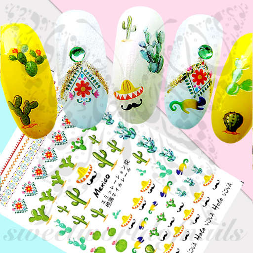 Mexican Nail Art Cactus Mexico Nail Stickers